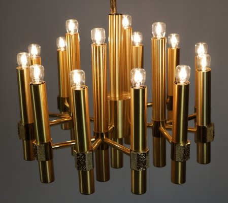 Elegant italian brass chandelier by Angelo Brotto for Esperia, 70s