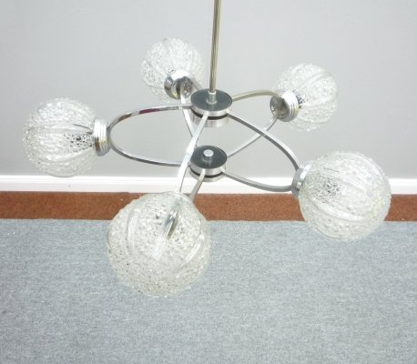 Space Age Chrome & Glass Chandelier by Richard Essig Germany, 1960s