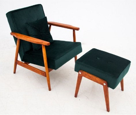 Green Armchair with footrest, Poland 1960s
