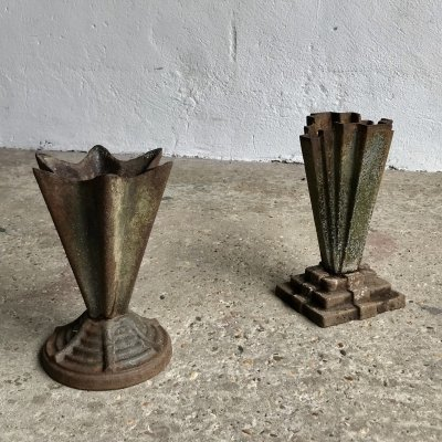Art Deco Cast Iron Vases, 1930s