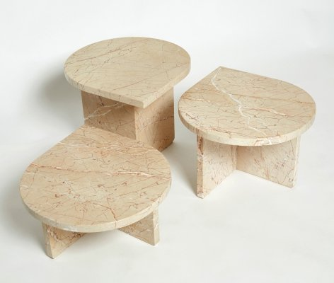 Set of three nesting coffee tables in light pale pink Sicilian marble, 1970s