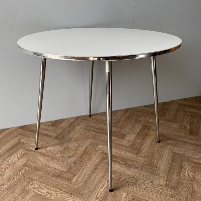 The Chair Centre Vintage Formica & Chrome Round Dining Table, 1970s