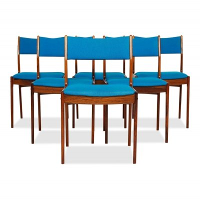 Set of 6 Vintage Danish design Johannes Andersen rosewood dining chairs, 1960s