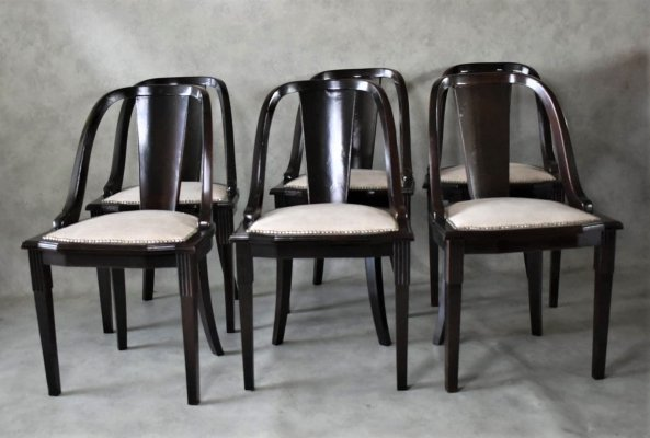 Set of 6 French Art Deco 'Gondola' Dining Chairs, 1930s