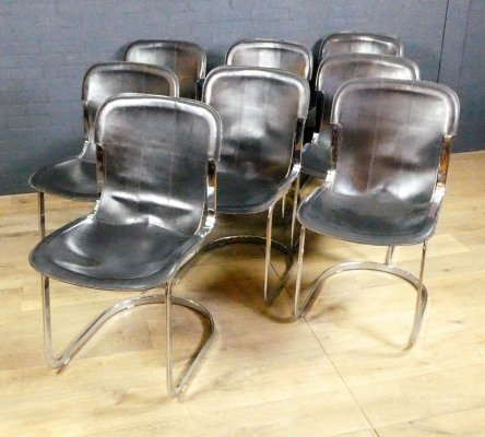 Set of 8 dining room chairs by Willy Rizzo for Cidue, 1970s