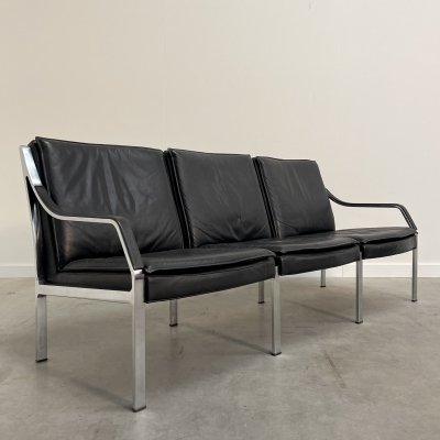 Vintage black leather sofa by Dreipunkt International