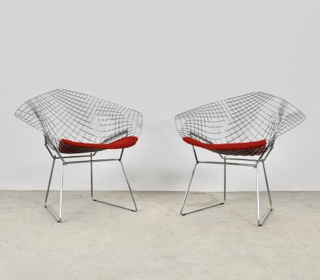 Pair of Diamond Chairs by Harry Bertoia for Knoll, 1980s