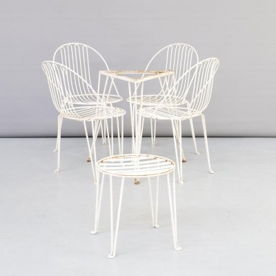 Mauser garden set in metal with chairs, table & sidetable, 1950s