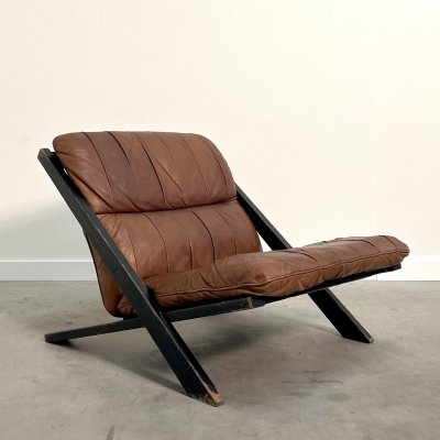 X Shaped leather patchwork chair by Ubald Klug for De Sede, 1970s