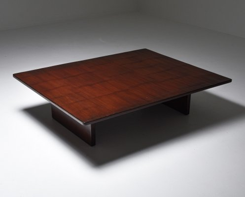 Axel Vervoordt Stained Oak & Bamboo Coffee Table, 1980's
