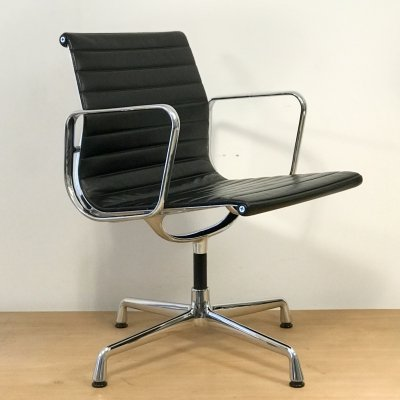 Premium leather EA108 chair by Charles & Ray Eames for Vitra, 1990s
