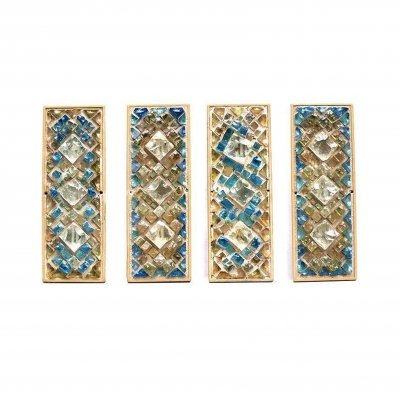 Set Wall Lamps with Brutalist Glass Mosaic, 1950s