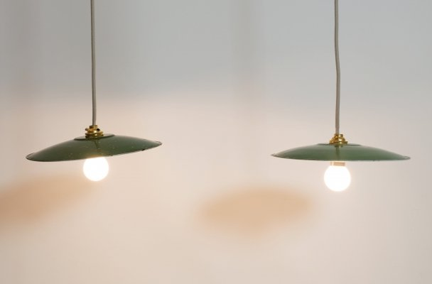 Pair of industrial hanging lamps, 1960-1970