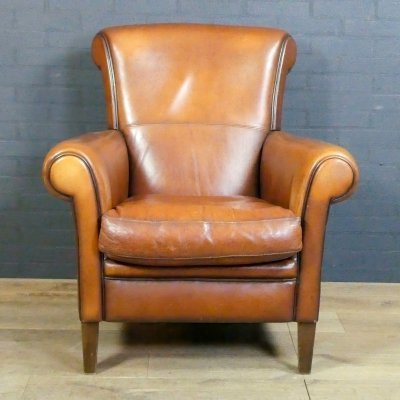 Vintage sheep leather club chair 'His' by Muylaert