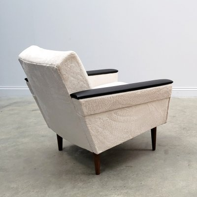 1960 Danish Loungers Club Chair in Ivory Long Hair Upholstery