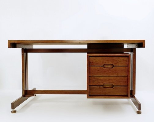 Double-Sided Italian Teak And Black Leather Desk, 1960s