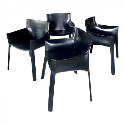 Giancarlo Vegni Leather Chairs, 1980s