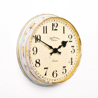 Vintage brass factory wall clock by Synchronome