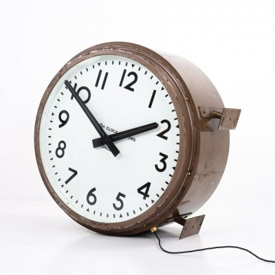 Huge double sided railway clock by English Clock Systems
