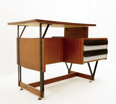 Ico Parisi Wooden Small Writing Desk With Metal Structure, Italy 1960s