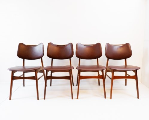 Set of 4 vintage teak dining chairs, 1960s