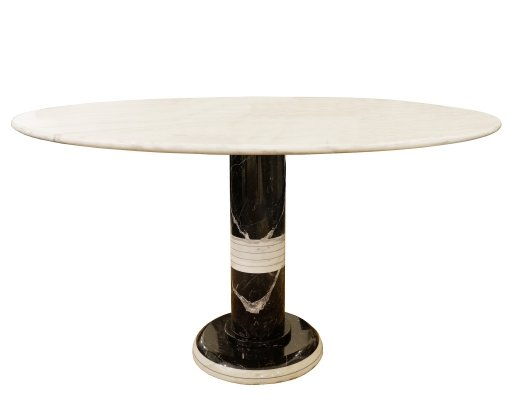 Round Dining Table In Black And White Marble, 1970s