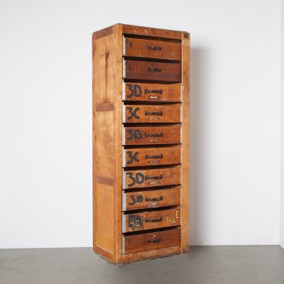 Antique Wood Drawer Cabinet, 1920s
