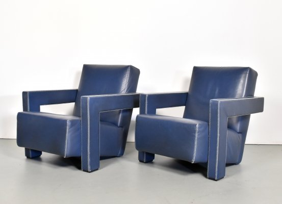 Pair of Utrecht armchairs in blue leather by Gerrit Rietveld for Cassina, 1990s