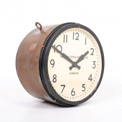 Vintage double sided railway clock by English Clock Systems, 1940s