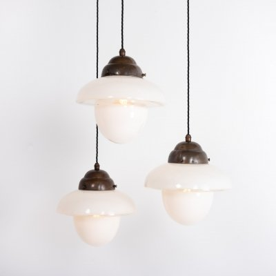Vintage two tone opaline glass church pendant lights by ASEA, 1920s