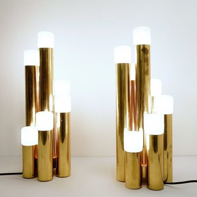Pair of Tubular Brass Table Lamps by Gaetano Sciolari for Boulanger, 1970s