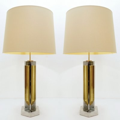 Pair of large chrome & brass table lamps