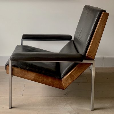 Brown/liver coloured leather Lotus chair by Rob Parry, 1960s