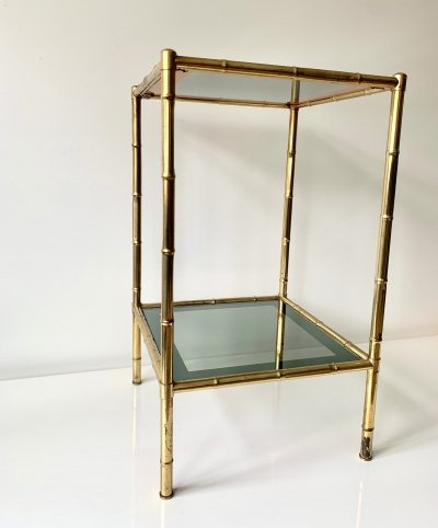 Faux bamboo side/console table with original glass shelving with mirror edges