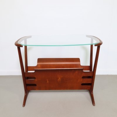 Walnut magazine table by Cesare Lacca, 1950s