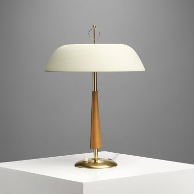 Mid-Century Brass & Wood Table Lamp, Scandinavia 1940s