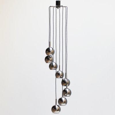 Eight tier cascade pendant in chrome, 1960s