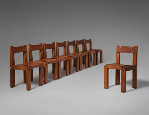Set of 8 Pierre Chapo 'S11' chairs in Solid Elm & Leather, 1960s