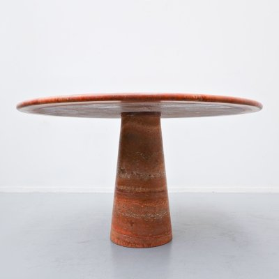 Red travertine dining table, 1970s