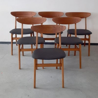 Set of 6 teak dining chairs by Darstrup Mobler Denmark, 1960s