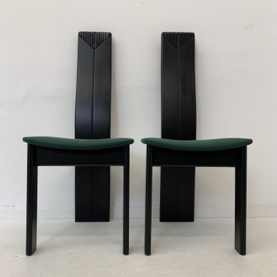 Set of 2 Memphis style dining chairs, 1980's