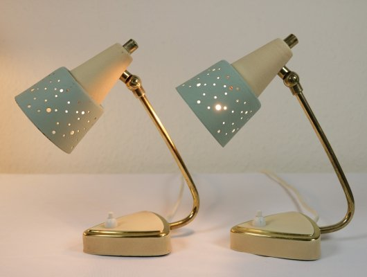 2 x table lamps with mint green perforated shade, 1950s