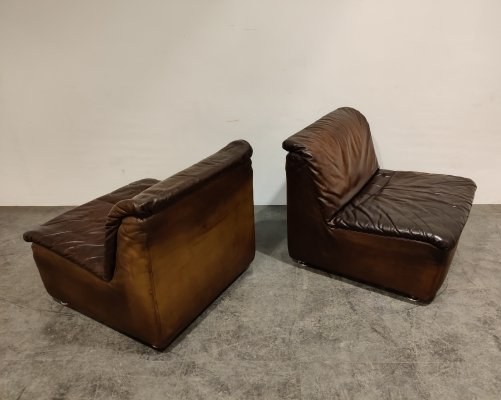 Vintage leather lounge chairs by Durlet, 1970s