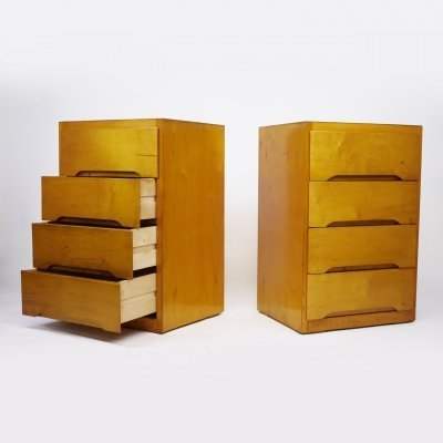 Pair of Mid-Century Ply Chest of Drawers by B Linden, 1960s