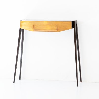 Italian Console in Dark Brown Polished Oak & Brass