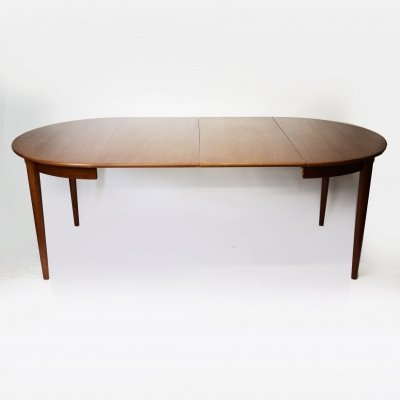 Danish Teak Round Extending Dining Table by Skovmand & Andersen, 1960s