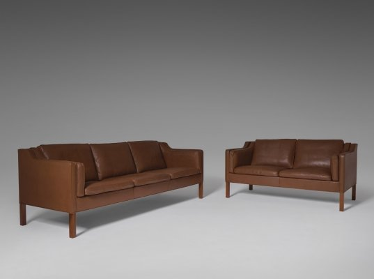 Børge Mogensen 2213 & 2212 Sofa set for Fredericia in Brown Leather, 1960s