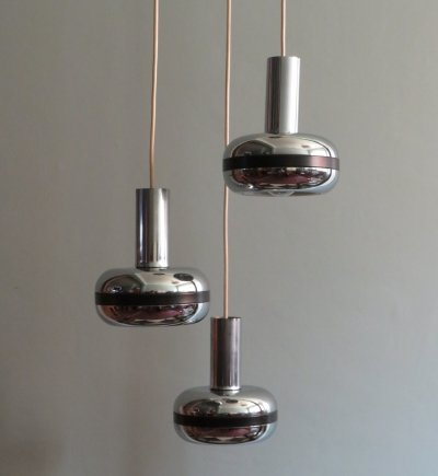 Cascade pendant lamp with 3 chrome globes, 1970