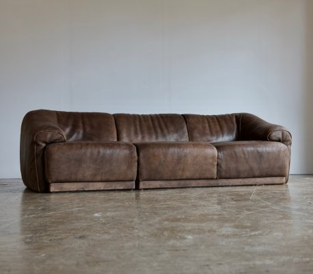 1970's three seater sofa in leather