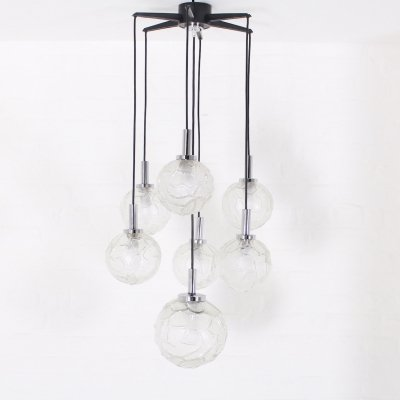Pressed glass cascade chandelier with 7 lights by Doria, 1970's